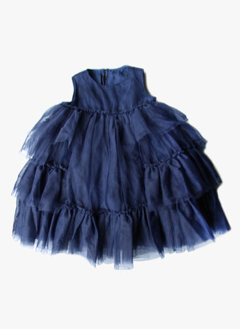 JNBY Girls Tulle Ruffles Sleeveless Dress in Navy - FINAL SALE