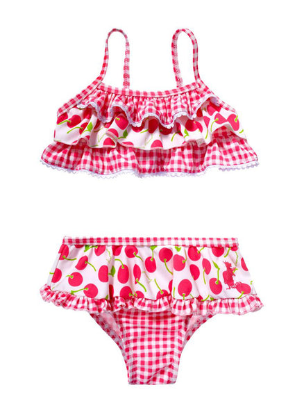 Juicy Couture Azalea Pink Gingham/Cherry Print Swimsuit Bikini - JCSIG266 - FINAL SALE