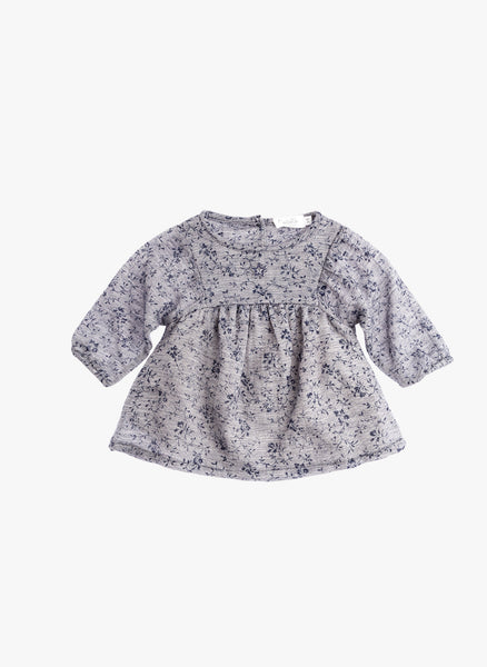 Tocoto Vintage Baby/Kid Flowers Print Dress in Navy - FINAL SALE