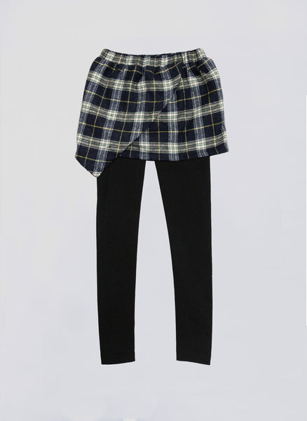 Vierra Rose Kinsley Wrap Skirt Leggings in Green Plaid