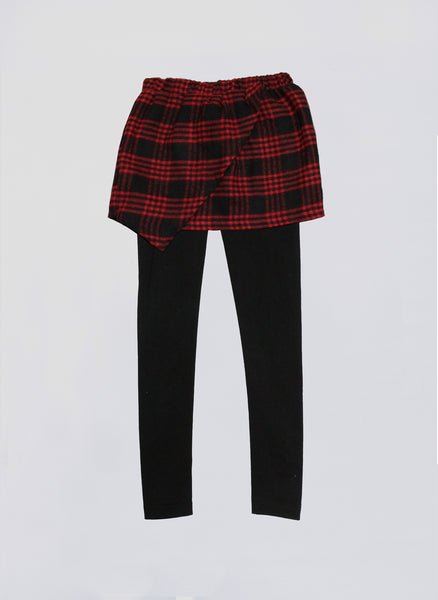 Vierra Rose Kinsley Wrap Skirt Leggings in Red Plaid - FINAL SALE