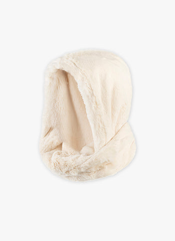 Little Creative Snow Hooded Scarf in Cream