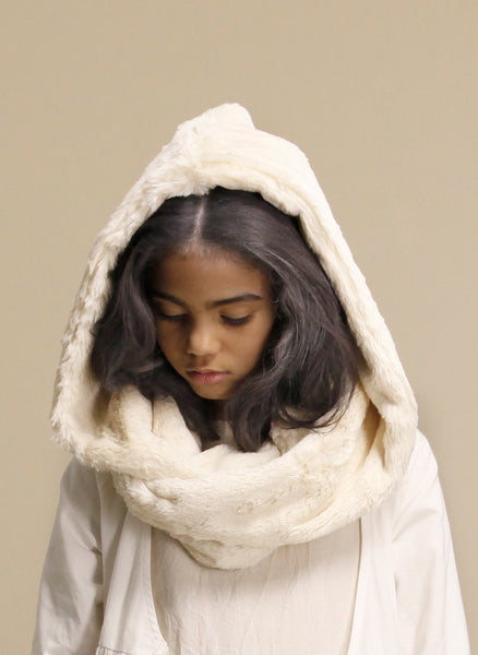 Little Creative Snow Hooded Scarf in Cream - FINAL SALE