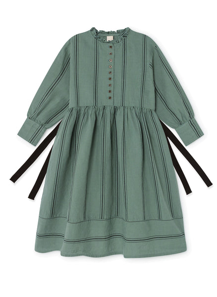Little Creative Factory The Makers Stripes Dress in Soft Green - FINAL SALE