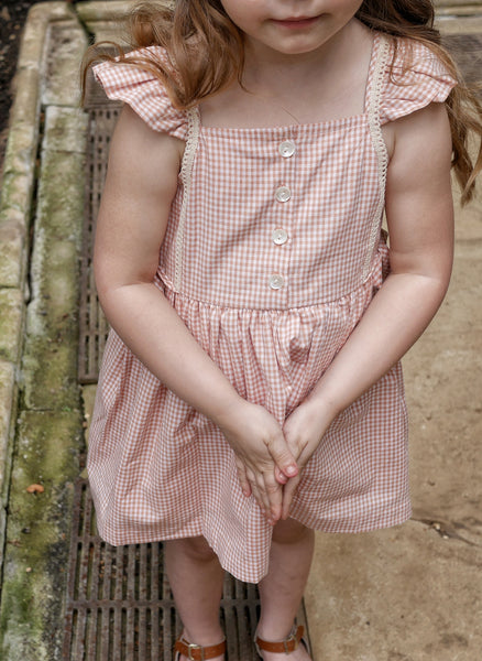 Lali Pinafore Dress in Peach Chex - FINAL SALE