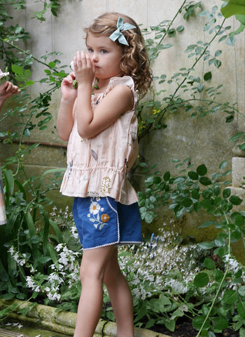 Lali Embroidery Shorts in Blue  - FINAL SALE