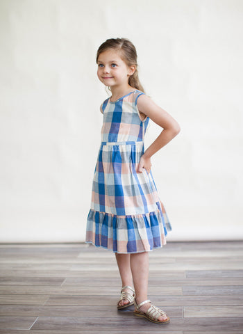 Lali Chloe Dress in Blue Chex - FINAL SALE
