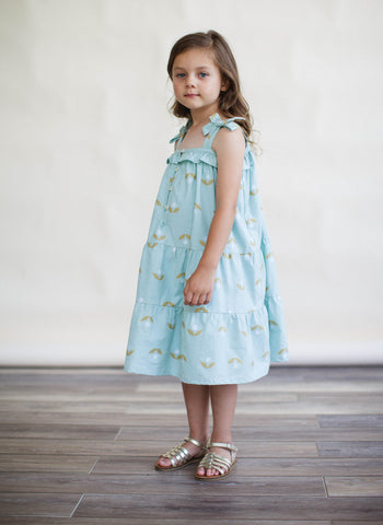 Lali Dahlia Dress in Minty Jambdani - FINAL SALE