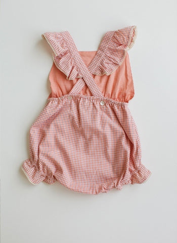 Lali Poppy Baby Girl Romper in Peach Chex - FINAL SALE