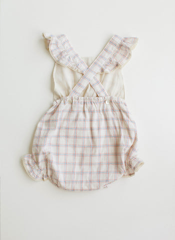 Lali Poppy Baby Girl Romper in White Chex - FINAL SALE