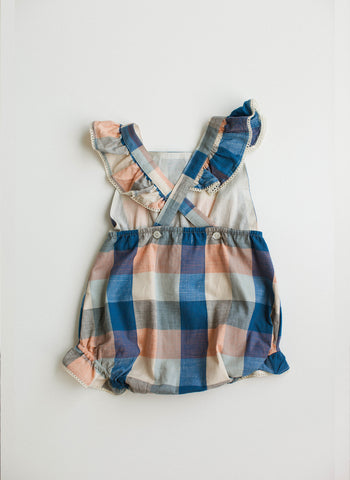 Lali Poppy Baby Girl Romper in Blue Chex - FINAL SALE