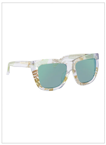 Linda Farrow X Erdem Clear Ferns with Green Mirror Lens - FINAL SALE