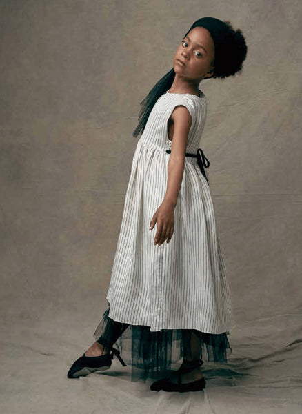 Little Creative Tap Smock Dress in White