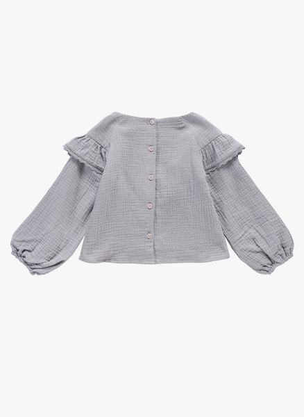 Louise Misha Nagyka Top in Light Grey - FINAL SALE