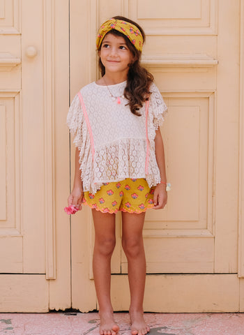 Louise Misha Paola Top in Cream Flower Lace - FINAL SALE