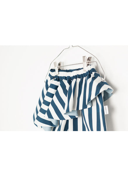 MOTORETA Abi Skort in Blue & White Stripes - FINAL SALE