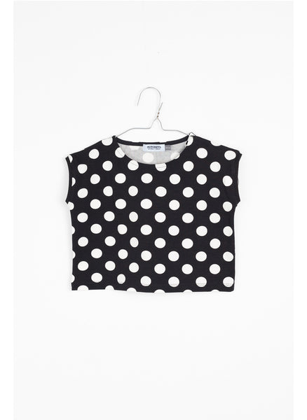 MOTORETA Aguadulce T-Shirt in Black & White Dots - FINAL SALE
