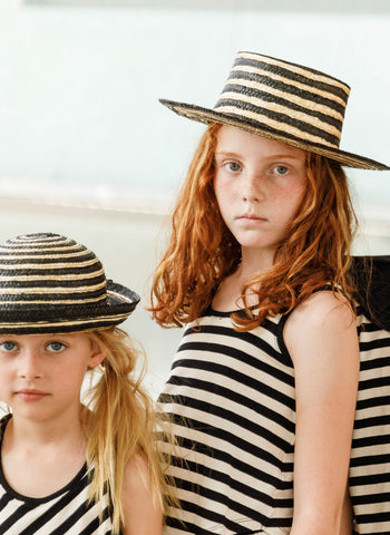 MOTORETA Cantoutier Hat in Straw & Black - FINAL SALE