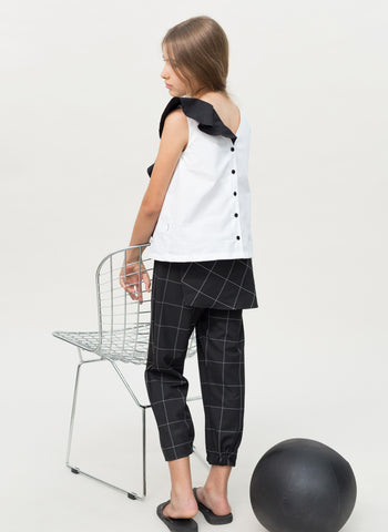 MOTORETA Mariana Blouse in White & Black - FINAL SALE