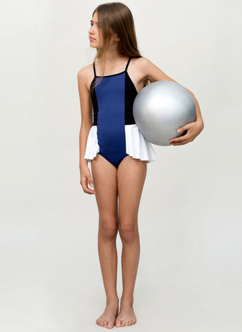 MOTORETA Swimsuit Ruffled in Blue/Black/White - FINAL SALE