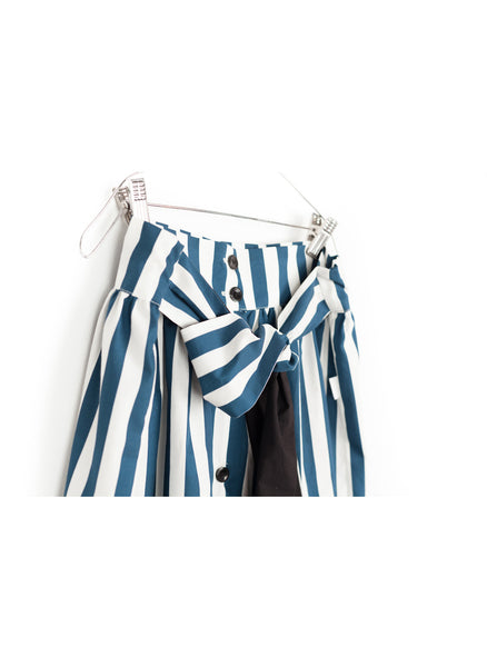 MOTORETA Tula Skirt in Blue & White Stripes - FINAL SALE