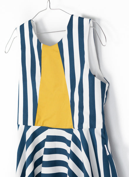 MOTORETA Vega Dress in Blue & White Stripe - FINAL SALE