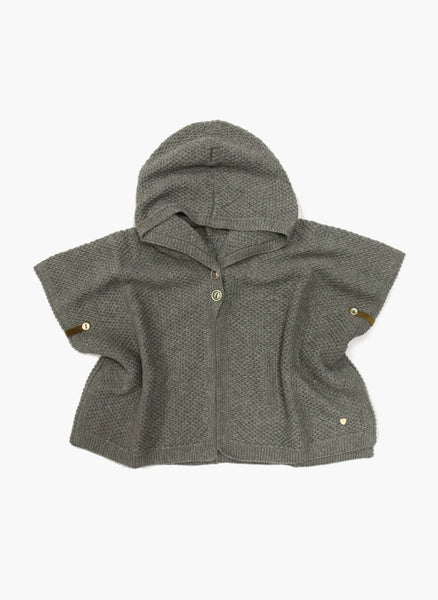 Message in the Bottle Baby Girl Dora Hooded Cape in Cinder Grey - FINAL SALE