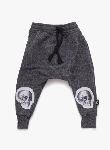 Nununu Patch Skull Baggy Pants in Charcoal - FINAL SALE