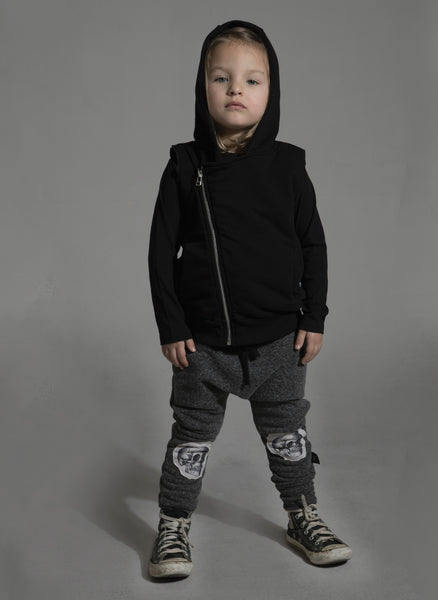 Nununu Patch Skull Baggy Pants in Black - FINAL SALE