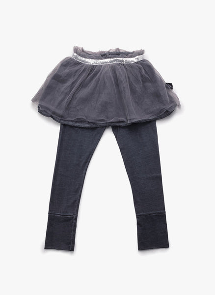 Nununu Tulle Leggings Skirt in Dyed Grey - FINAL SALE
