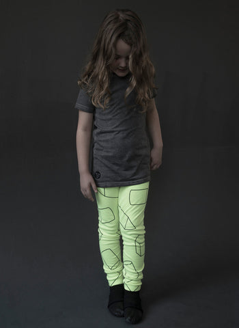 Nununu Geometric Leggings in Neon Yellow - FINAL SALE