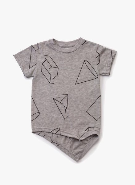 Nununu Geometric Penguin Shirt in Heather Grey - FINAL SALE