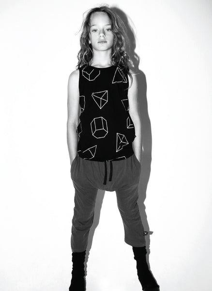 Nununu Geometric Tank Top in Black - FINAL SALE