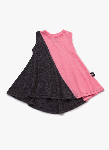 Nununu 1/2 & 1/2 360 Tank Dress in Charcoal & Pink - FINAL SALE