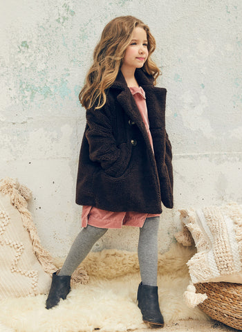 Nellystella Celeste Coat in Brown Fleece