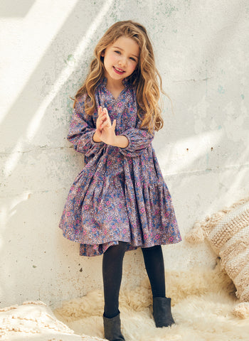 Nellystella Sasha Dress in Vintage Floral Purple Haze