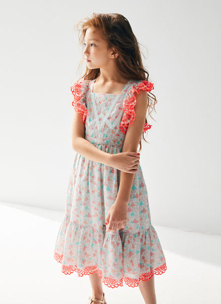 Nellystella Elina Dress in Blooming Hearts Mint - FINAL SALE