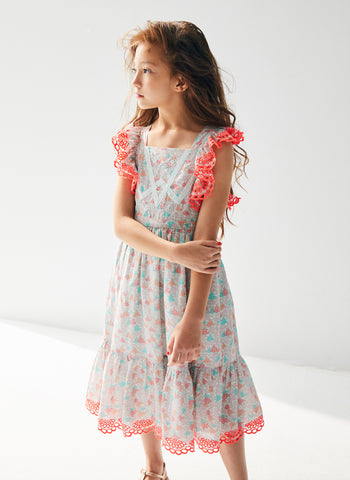 Nellystella Elina Dress in Blooming Hearts Mint
