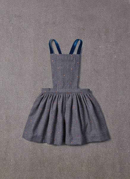 Nellystella Ella Dress in Grey Polkadot