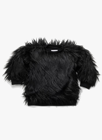 Nununu Faux Fur Sweatshirt in Black