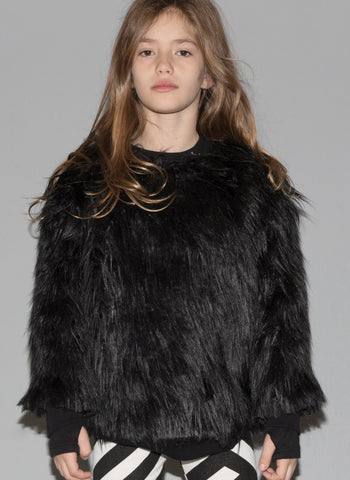 Nununu Faux Fur Sweatshirt in Black - FINAL SALE