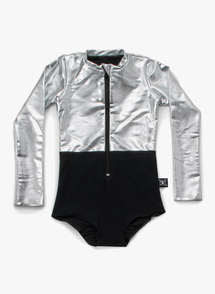 Nununu 1/2 & 1/2 Long Sleeved Swimsuit in Black/Silver - FINAL SALE