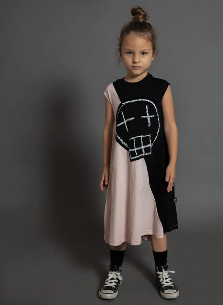 Nununu 1/2 & 1/2 Sketch Skull 360 Dress in Black/Powder Pink