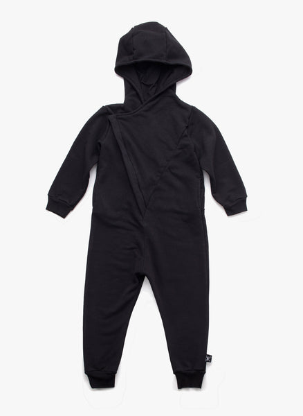 Nununu Hooded Overall in Black - FINAL SALE