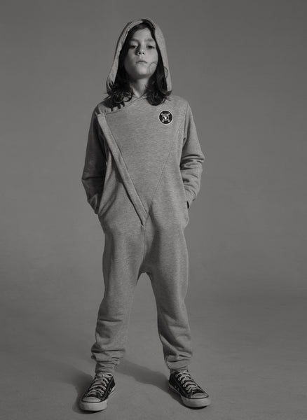 Nununu Hooded Overall in Heather Grey - FINAL SALE