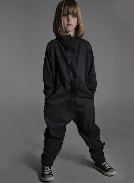 Nununu Cotton Aviator Overall in Dyed Black - FINAL SALE