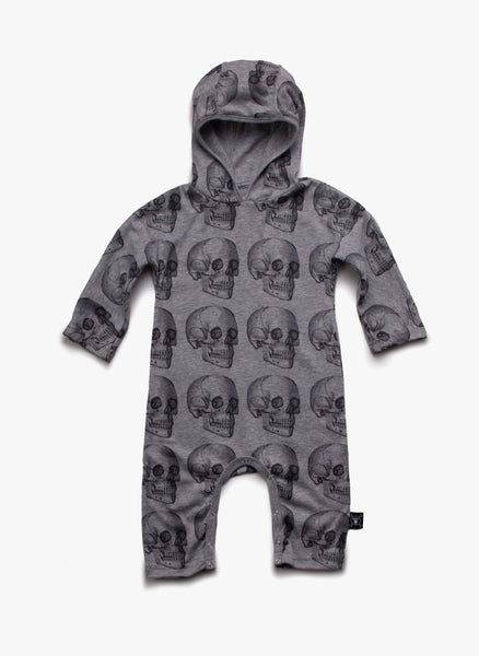Nununu Skull Hooded Playsuit in Heather Grey - FINAL SALE