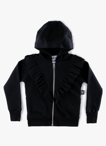 Nununu Ruffled Zip Hoodie in Black - FINAL SALE