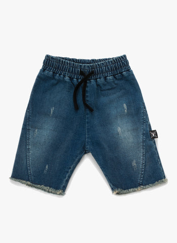Nununu Side Hem Denim Shorts in Washed Denim