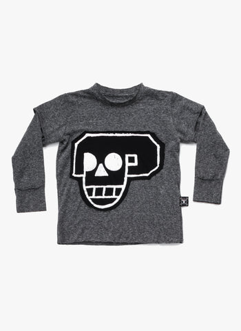 Nununu Skull Robot Patch Shirt in Charcoal - FINAL SALE